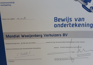 Mondial Oostland Verhuizingen ondertekent brede Code Verantwoordelijk Marktgedrag