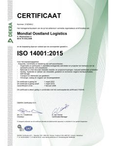 Mondial Oostland Verhuizingen behaalt ISO 9001, ISO 14001 en OHSAS 18001 certificaten