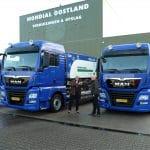 Nieuwe MAN Euro 6 voertuigen met zuinige motoren voor Mondial Oostland Verhuizingen Duurzaam en milieuvriendelijk verhuizen begint bij Mondial Oostland Verhuizingen uit Kolham (Groningen)