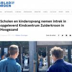 Dagblad van het noorden over verhuizing basisscholen naar Kindcentrum Zuiderkroon Hoogezand